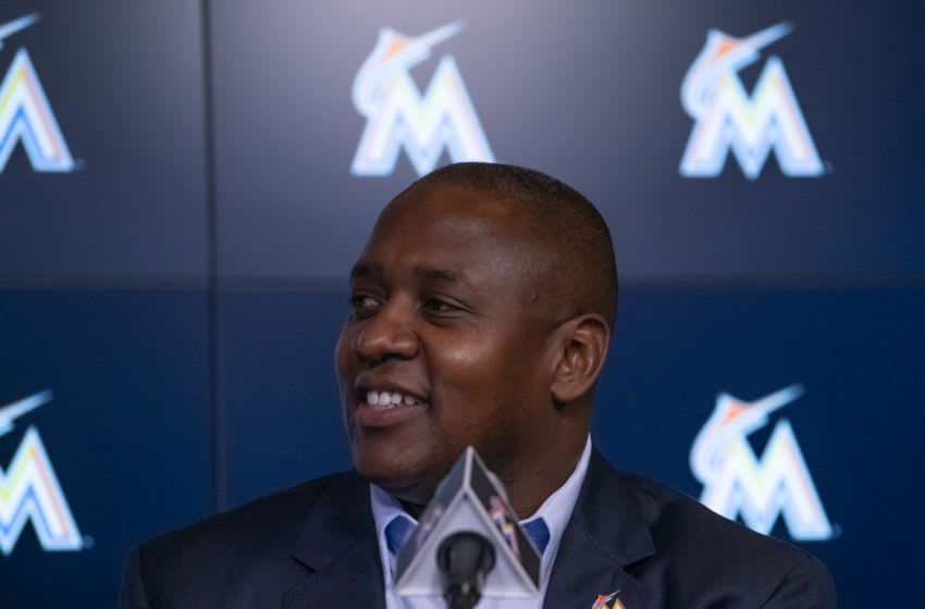 MIAMI, FL - OCTOBER 22: President of Baseball Operations of the Miami Marlins Michael Hill speaks with members of the media to announce the signing of the Mesa brothers at Marlins Park on October 22, 2018 in Miami, Florida. (Photo by Mark Brown/Getty Images)