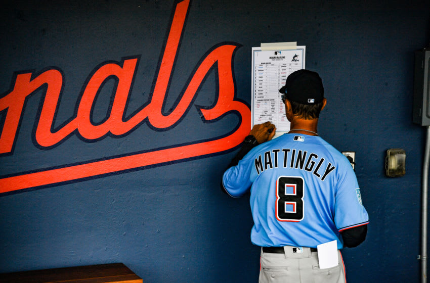 WEST PALM BEACH, FL - FEBRUARY 28: Don Mattingly #8 of the Miami Marlins adjusts the line before the game between the Houston Astros and the Miami Marlins at The Ballpark of the Palm Beaches on February 28, 2019 in West Palm Beach, Florida. (Photo by Mark Brown/Getty Images)