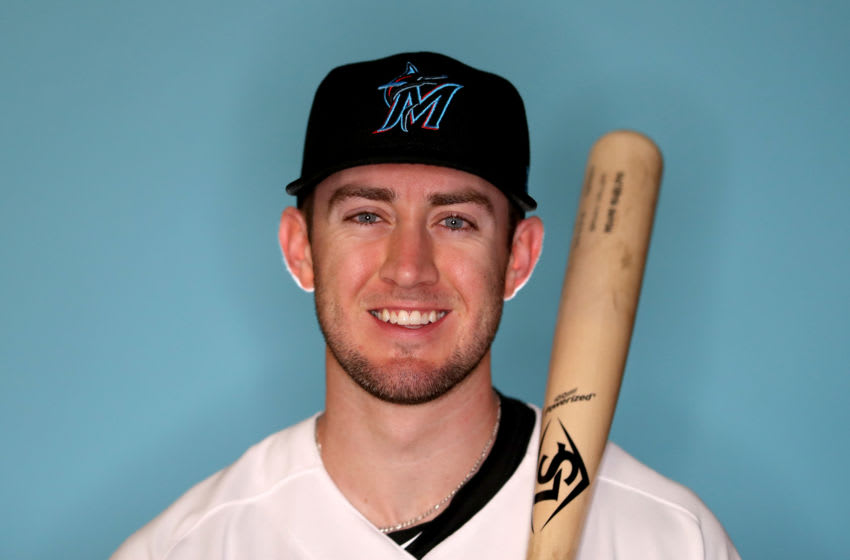 JUPITER, FLORIDA - FEBRUARY 20: Brian Miller #92 of the Miami Marlins poses for a photo during photo days at Roger Dean Stadium on February 20, 2019 in Jupiter, Florida. (Photo by Rob Carr/Getty Images)