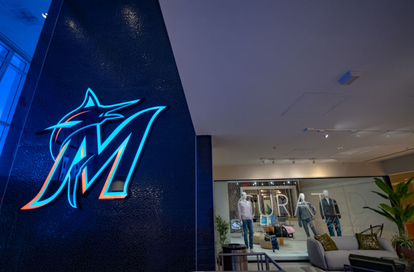 MIAMI, FL - MARCH 28: A general view of the new Miami Marlins logo in Marlins Park before the game between the Miami Marlins and the Colorado Rockies on Opening Day at Marlins Park on March 28, 2019 in Miami, Florida. (Photo by Mark Brown/Getty Images)