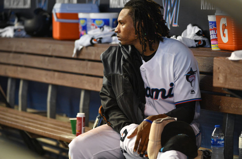 MIAMI, FL - MARCH 28: Jose Urena #62 of the Miami Marlins in the dugout after being removed from the game in the fitth inning against the Colorado Rockies during Opening Day at Marlins Park on March 28, 2019 in Miami, Florida. (Photo by Mark Brown/Getty Images)