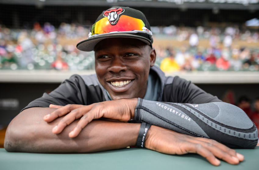 SCOTTSDALE, ARIZONA - MARCH 07: Jazz Chisholm #82 of the Arizona Diamondbacks smiles for a photo during the spring training game against the Cleveland Indians at Salt River Fields at Talking Stick on March 07, 2019 in Scottsdale, Arizona. (Photo by Jennifer Stewart/Getty Images)