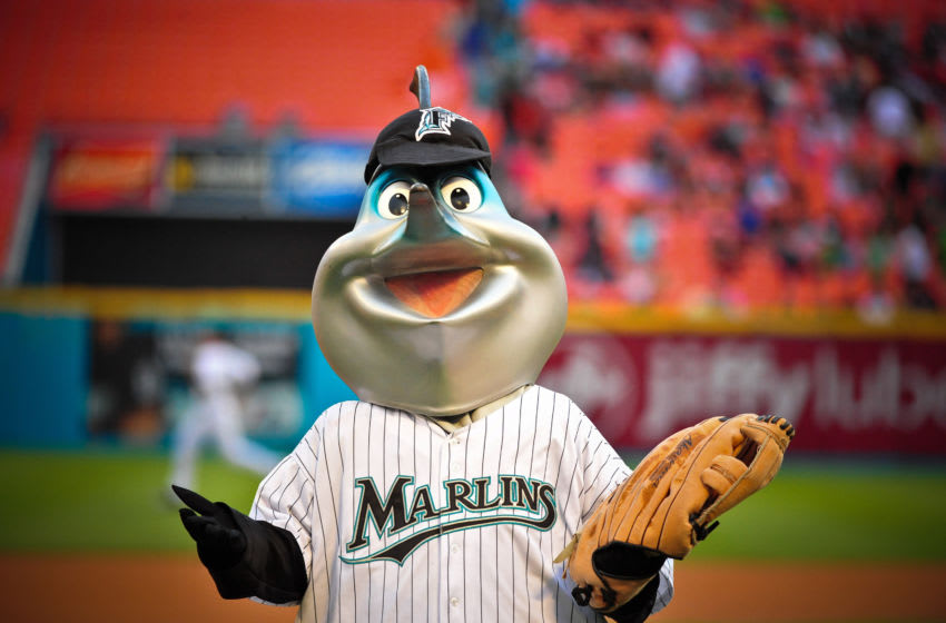 MIAMI , FL - MAY 6: Florida Marlins mascot Billy the Marlin performs during a MLB game against the Washington Nationals at Sun Life Stadium on May 6, 2011 in Miami, Florida. (Photo by Ronald C. Modra/Getty Images)