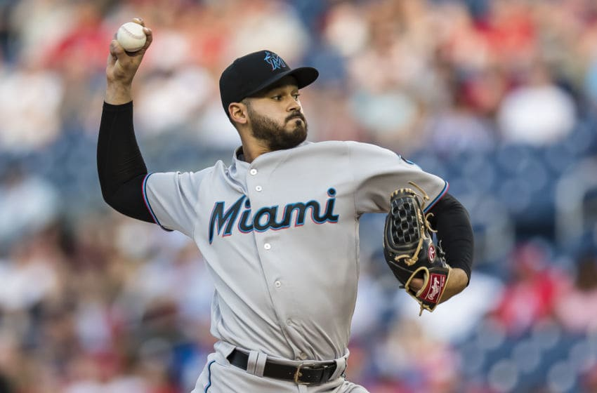 WASHINGTON, DC - MAY 24: Pablo Lopez #49 of the Miami Marlins pitches against the Washington Nationals during the first inning at Nationals Park on May 24, 2019 in Washington, DC. (Photo by Scott Taetsch/Getty Images)