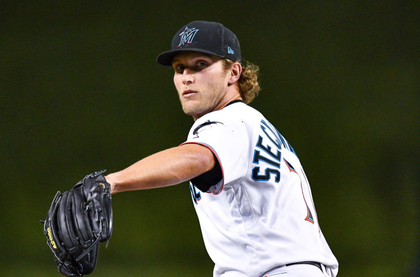 MIAMI, FL - MAY 01: Drew Steckenrider #71 of the Miami Marlins delivers a pitch in the eighth inning against the Cleveland Indians at Marlins Park on May 1, 2019 in Miami, Florida. (Photo by Mark Brown/Getty Images)