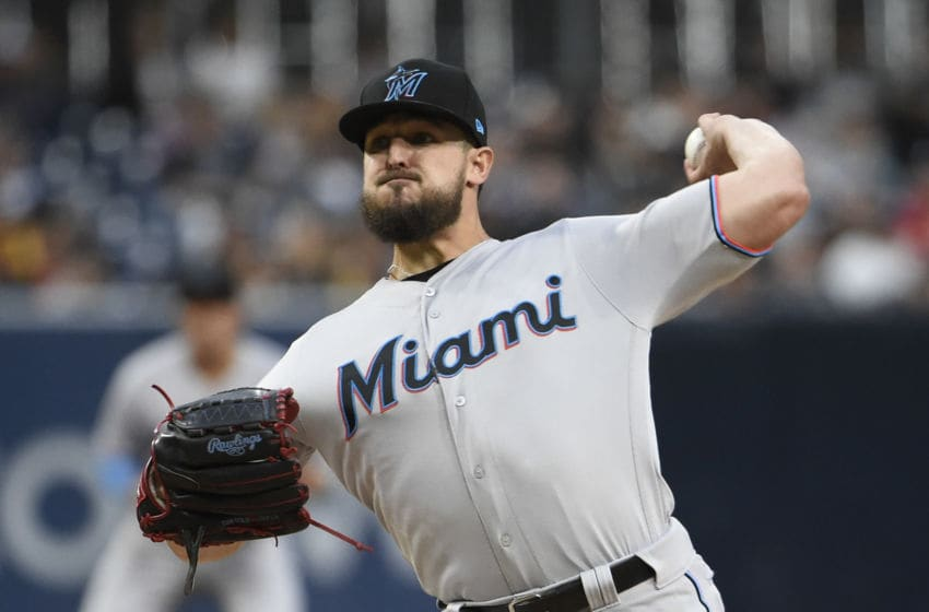 SAN DIEGO, CA - MAY 31: Caleb Smith #31 of the Miami Marlins pitches during the first inning of a baseball game against the San Diego Padres at Petco Park May 31, 2019 in San Diego, California. (Photo by Denis Poroy/Getty Images)