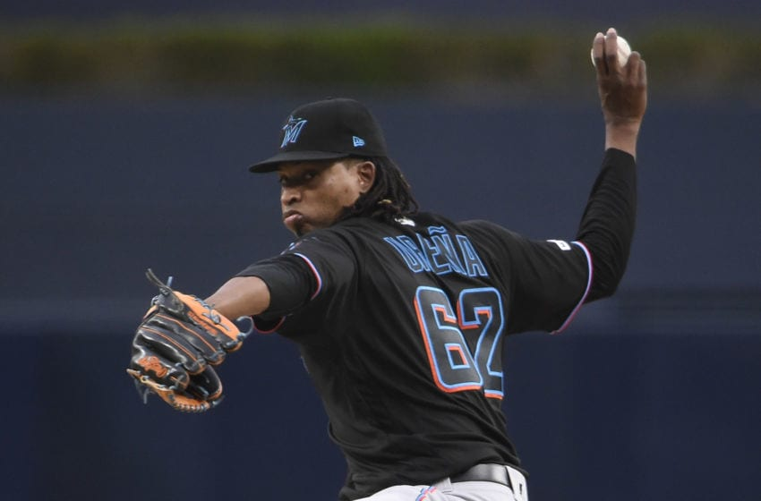 SAN DIEGO, CA - JUNE 1: Jose Urena #62 of the Miami Marlins pitches during the first inning of a baseball game against the San Diego Padres at Petco Park on June 1, 2019 in San Diego, California. (Photo by Denis Poroy/Getty Images)