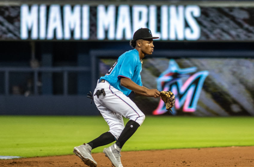 MIAMI, FL - JUNE 10: Miami Marlins second round draft pick Nasim Nunez #23 participates in batting practice before the game between the Miami Marlins and the St. Louis Cardinals at Marlins Park on June 10, 2019 in Miami, Florida. (Photo by Mark Brown/Getty Images)