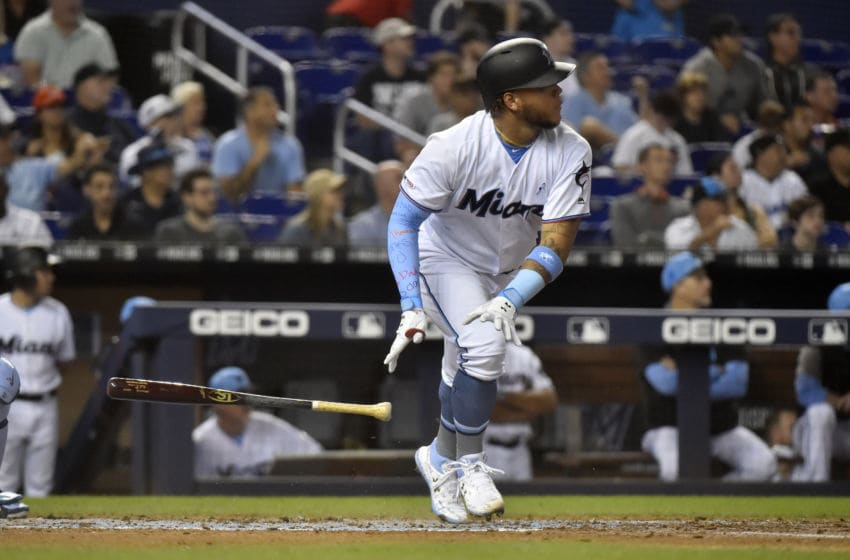 MIAMI, FL - JUNE 16: Harold Ramirez #47 of the Miami Marlins hits a three run home run in the fourth inning against the Pittsburgh Pirates at Marlins Park on June 16, 2019 in Miami, Florida. (Photo by Eric Espada/Getty Images)