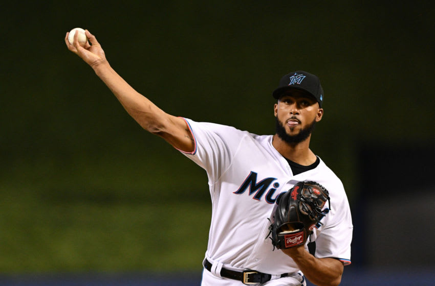 MIAMI, FL - JUNE 27: Sandy Alcantara #22 of the Miami Marlins delivers a pitch in the first inning against the Washington Nationals at Marlins Park on June 27, 2019 in Miami, Florida. (Photo by Mark Brown/Getty Images)