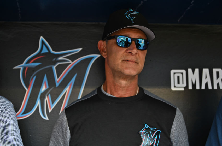 MIAMI, FL - MAY 29: Don Mattingly #8 of the Miami Marlins speaks with the media prior to the game between the Miami Marlins and the San Francisco Giants at Marlins Park on May 29, 2019 in Miami, Florida. (Photo by Mark Brown/Getty Images)