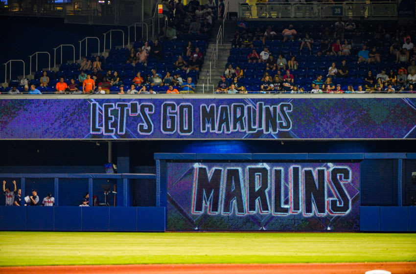 MIAMI, FL - JUNE 07: A general view of the Miami Marlins logo during the game against the Atlanta Braves at Marlins Park on June 7, 2019 in Miami, Florida. (Photo by Mark Brown/Getty Images)