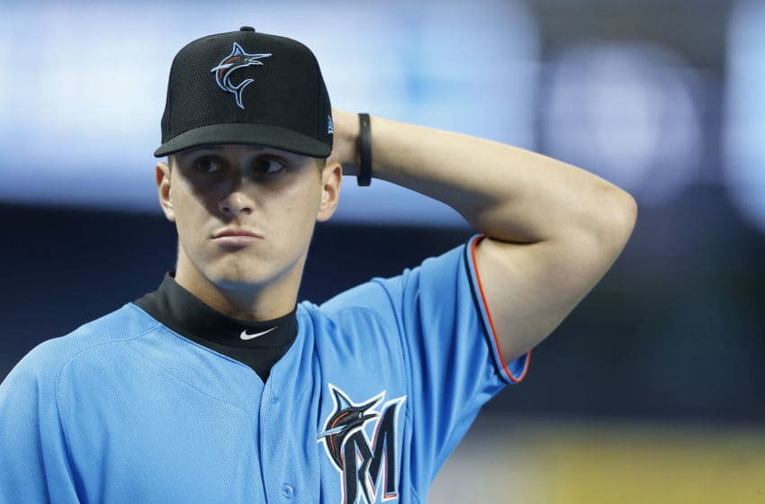 MIAMI, FLORIDA - JULY 12: First round draft pick J.J. Bleday of the Miami Marlins looks on during batting practice prior to the game against the New York Mets at Marlins Park on July 12, 2019 in Miami, Florida. (Photo by Michael Reaves/Getty Images)