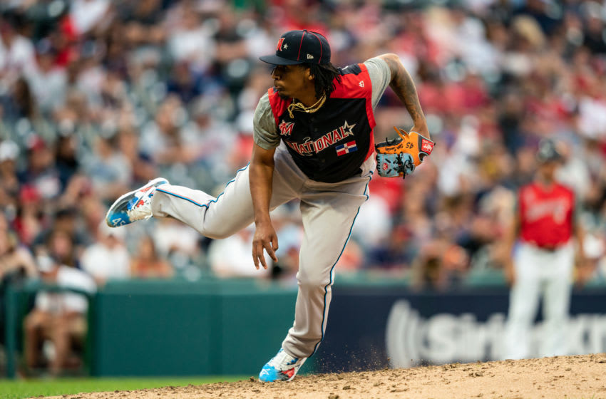 CLEVELAND, OH - JULY 07: Sixto Sanchez #45 of the National League Futures Team pitches during the SiriusXM All-Star Futures Game on July 7, 2019 at Progressive Field in Cleveland, Ohio. (Photo by Brace Hemmelgarn/Minnesota Twins/Getty Images)