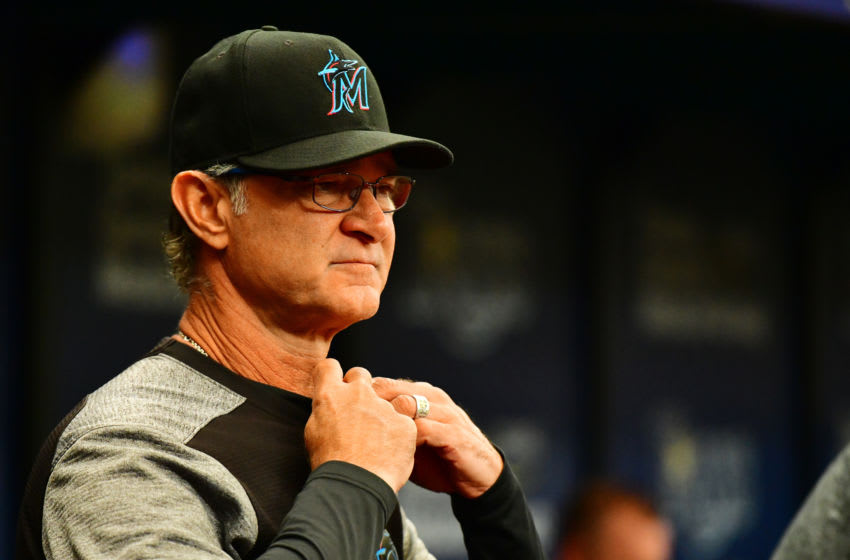 ST. PETERSBURG, FLORIDA - AUGUST 04: Manager Don Mattingly #8 of the Miami Marlins looks on during the fifth inning of a baseball game against the Tampa Bay Rays at Tropicana Field on August 04, 2019 in St. Petersburg, Florida. (Photo by Julio Aguilar/Getty Images)