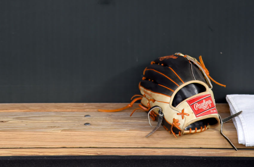BALTIMORE, MD - AUGUST 24: A detailed view of a Rawlings baseball glove prior to the game between the Baltimore Orioles and the Tampa Bay Rays at Oriole Park at Camden Yards on August 24, 2019 in Baltimore, Maryland. (Photo by Will Newton/Getty Images)