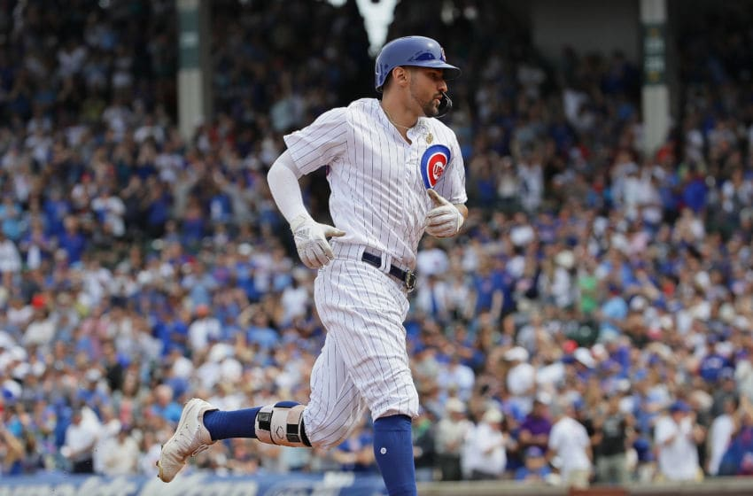CHICAGO, ILLINOIS - AUGUST 30: Nicholas Castellanos #6 of the Chicago Cubs runs the bases after hitting his second two run home run in the 2nd inning against the Milwaukee Brewers at Wrigley Field on August 30, 2019 in Chicago, Illinois. (Photo by Jonathan Daniel/Getty Images)