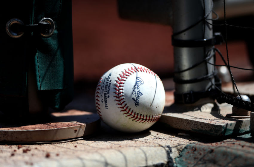 WASHINGTON, DC - SEPTEMBER 04: A baseball sits in the dugout during the New York Mets and Washington Nationals game at Nationals Park on September 04, 2019 in Washington, DC. (Photo by Rob Carr/Getty Images)