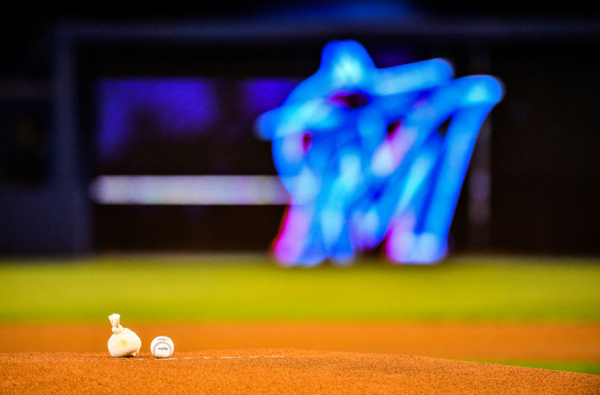 MIAMI, FL - SEPTEMBER 12: A general view of the baseball resting on the mound before the game between the Miami Marlins and the Milwaukee Brewers at Marlins Park on September 12, 2019 in Miami, Florida. (Photo by Mark Brown/Getty Images)