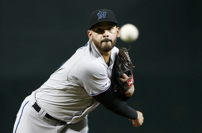 PHOENIX, ARIZONA - SEPTEMBER 16: Starting pitcher Pablo Lopez #49 of the Miami Marlins throws against the Arizona Diamondbacks during the first inning of the MLB game at Chase Field on September 16, 2019 in Phoenix, Arizona. (Photo by Ralph Freso/Getty Images)
