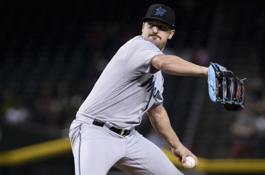 PHOENIX, ARIZONA - SEPTEMBER 17: Caleb Smith #31 of the Miami Marlins delivers a pitch in the first inning of the MLB game against the Arizona Diamondbacks at Chase Field on September 17, 2019 in Phoenix, Arizona. (Photo by Jennifer Stewart/Getty Images)