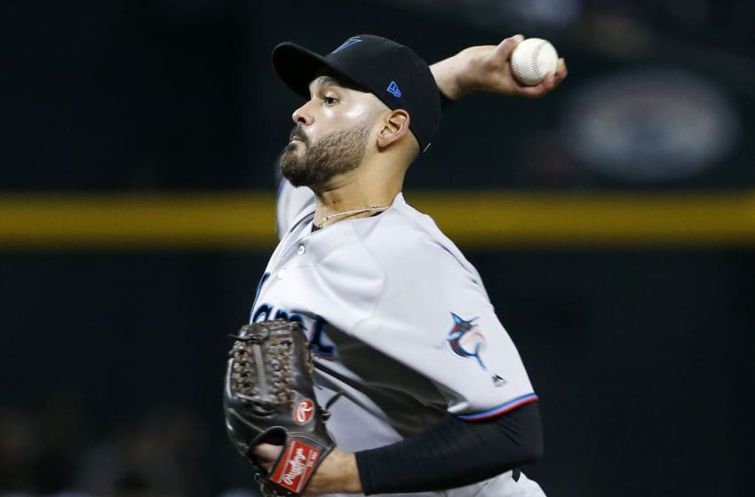 PHOENIX, ARIZONA - SEPTEMBER 16: Starting pitcher Pablo Lopez #49 of the Miami Marlins throws against the Arizona Diamondbacks during the sixth inning of the MLB game at Chase Field on September 16, 2019 in Phoenix, Arizona. (Photo by Ralph Freso/Getty Images)