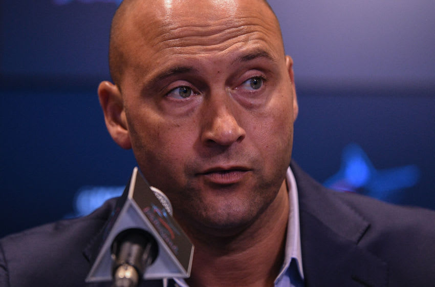 MIAMI, FLORIDA - SEPTEMBER 20: Derek Jeter CEO of the Miami Marlins speaks during a press conference to announce the contract extensions of Manager Don Mattingly and player Miguel Rojas at Marlins Park on September 20, 2019 in Miami, Florida. (Photo by Mark Brown/Getty Images)