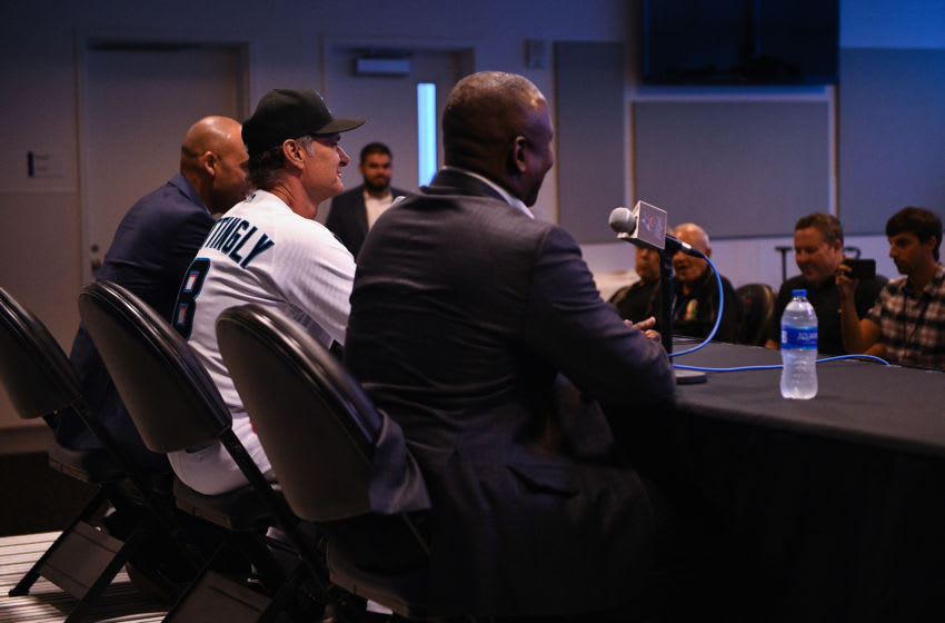 Caption MIAMI, FLORIDA - SEPTEMBER 20: (L-R) President of Baseball Operations Michael HIll, Manager Don Mattingly and Derek Jeter CEO of the Miami Marlins speak during a press conference at Marlins Park on September 20, 2019 in Miami, Florida. (Photo by Mark Brown/Getty Images)