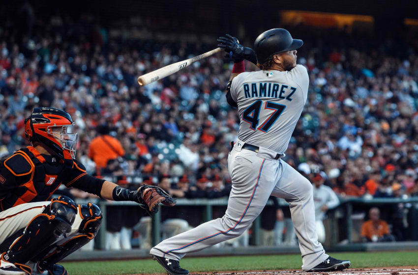 SAN FRANCISCO, CA - SEPTEMBER 14: Harold Ramirez #47 of the Miami Marlins at bat against the San Francisco Giants during the second inning at Oracle Park on September 14, 2019 in San Francisco, California. The Miami Marlins defeated the San Francisco Giants 4-2. (Photo by Jason O. Watson/Getty Images)