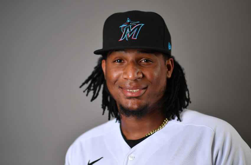 JUPITER, FLORIDA - FEBRUARY 19: Sixto Sanchez #73 of the Miami Marlins poses for a photo during Photo Day at Roger Dean Chevrolet Stadium on February 19, 2020 in Jupiter, Florida. (Photo by Mark Brown/Getty Images)