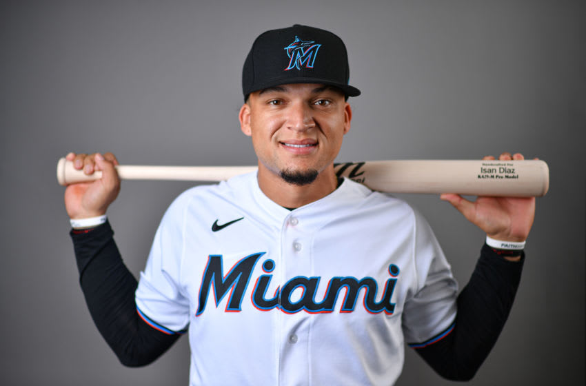 JUPITER, FLORIDA - FEBRUARY 19: Isan Diaz #1 of the Miami Marlins poses for a photo during Photo Day at Roger Dean Chevrolet Stadium on February 19, 2020 in Jupiter, Florida. (Photo by Mark Brown/Getty Images)