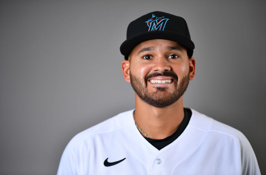 JUPITER, FLORIDA - FEBRUARY 19: Pablo Lopez #49 of the Miami Marlins poses for a photo during Photo Day at Roger Dean Chevrolet Stadium on February 19, 2020 in Jupiter, Florida. (Photo by Mark Brown/Getty Images)
