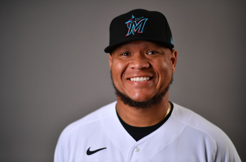 JUPITER, FLORIDA - FEBRUARY 19: Harold Ramirez #47 of the Miami Marlins poses for a photo during Photo Day at Roger Dean Chevrolet Stadium on February 19, 2020 in Jupiter, Florida. (Photo by Mark Brown/Getty Images)