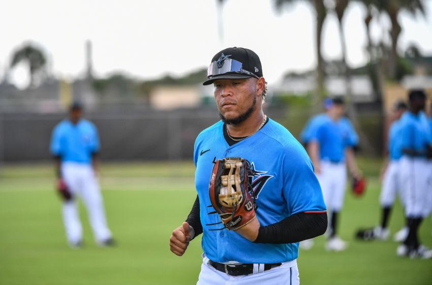 JUPITER, FLORIDA - FEBRUARY 19: Harold Ramirez #47 of the Miami Marlins performs drills during team workout at Roger Dean Chevrolet Stadium on February 19, 2020 in Jupiter, Florida. (Photo by Mark Brown/Getty Images)