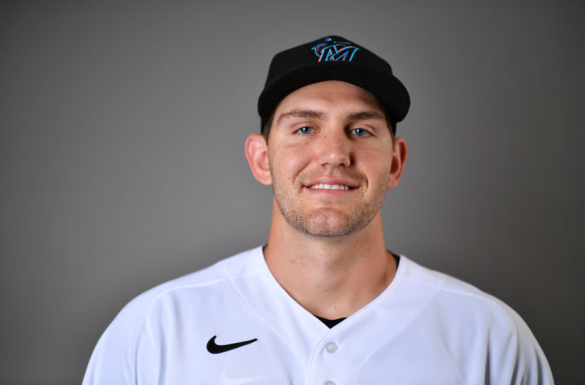 JUPITER, FLORIDA - FEBRUARY 19: Dylan Lee #90 of the Miami Marlins poses for a photo during Photo Day at Roger Dean Chevrolet Stadium on February 19, 2020 in Jupiter, Florida. (Photo by Mark Brown/Getty Images)