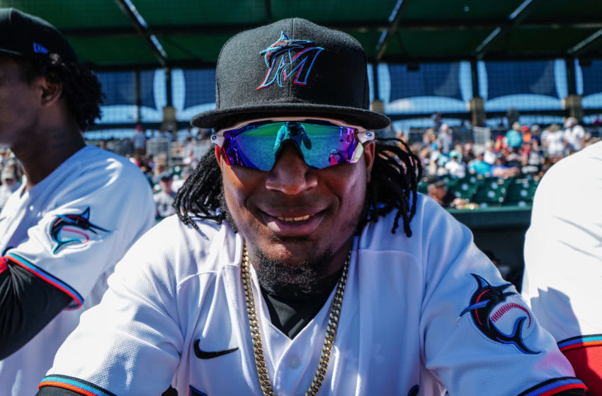 JUPITER, FLORIDA - FEBRUARY 23: Sixto Sanchez #73 of the Miami Marlins in the dugout before the spring training game against the Washington Nationals at Roger Dean Chevrolet Stadium on February 23, 2020 in Jupiter, Florida. (Photo by Mark Brown/Getty Images)