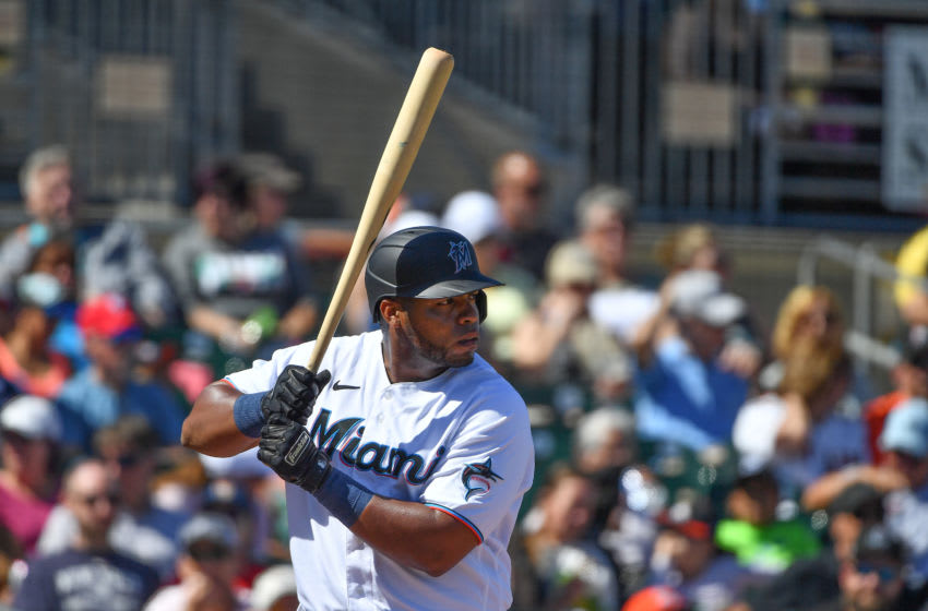 JUPITER, FLORIDA - FEBRUARY 23: Jesus Aguilar #24 of the Miami Marlins at bat during the spring training game against the Washington Nationals at Roger Dean Chevrolet Stadium on February 23, 2020 in Jupiter, Florida. (Photo by Mark Brown/Getty Images)