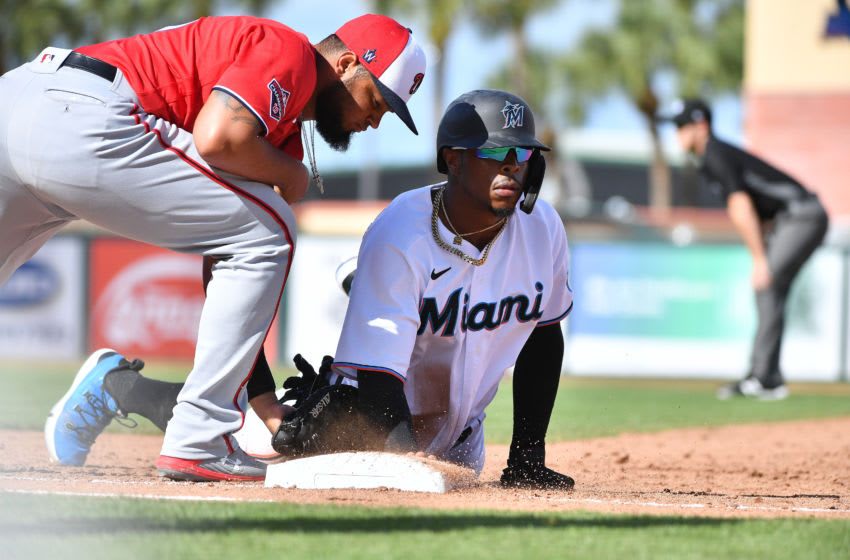 JUPITER, FLORIDA - FEBRUARY 23: Monte Harrison #60 of the Miami Marlins in action during the spring training game against the Washington Nationals at Roger Dean Chevrolet Stadium on February 23, 2020 in Jupiter, Florida. (Photo by Mark Brown/Getty Images)