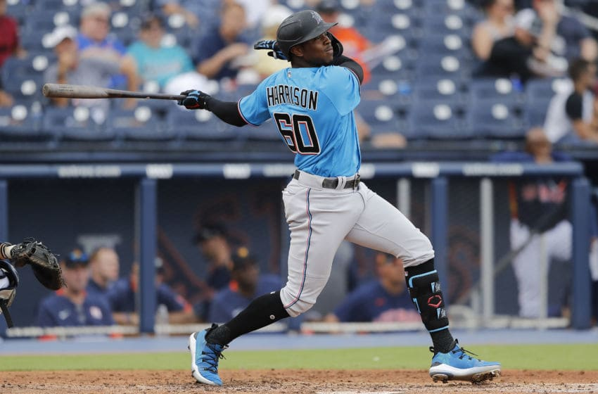WEST PALM BEACH, FLORIDA - FEBRUARY 25: Monte Harrison #60 of the Miami Marlins at bat against the Houston Astros during a Grapefruit League spring training game at FITTEAM Ballpark of The Palm Beaches on February 25, 2020 in West Palm Beach, Florida. (Photo by Michael Reaves/Getty Images)