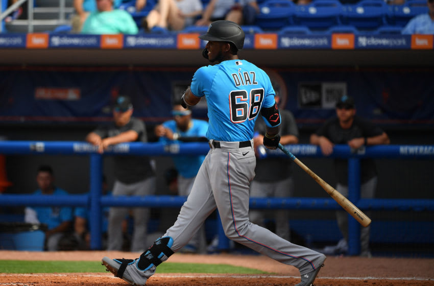 PORT ST. LUCIE, FLORIDA - MARCH 03: Lewin Diaz #68 of the Miami Marlins in action during the spring training game against the New York Mets at Clover Park on March 03, 2020 in Port St. Lucie, Florida. (Photo by Mark Brown/Getty Images)