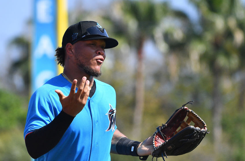 JUPITER, FLORIDA - MARCH 04: Harold Ramirez #47 of the Miami Marlins in action during the spring training game against the Baltimore Orioles at Roger Dean Chevrolet Stadium on March 04, 2020 in Jupiter, Florida. (Photo by Mark Brown/Getty Images)