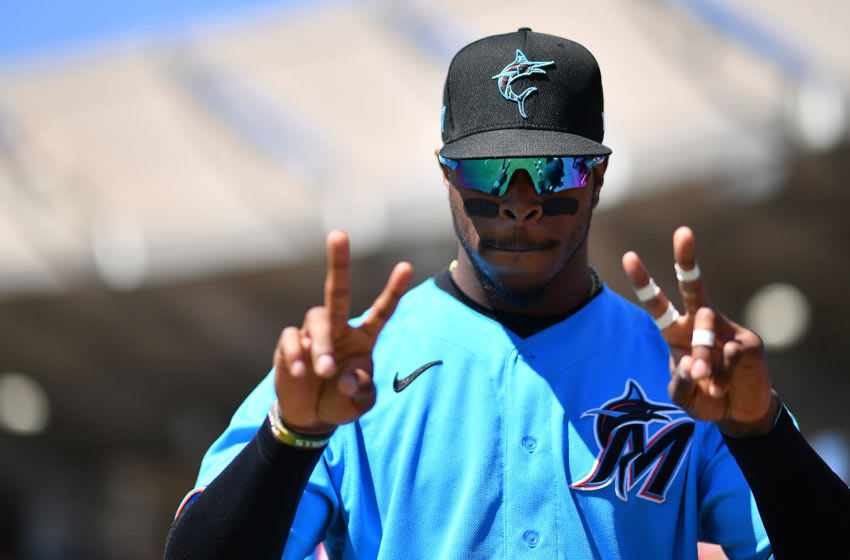 SARASOTA, FLORIDA - FEBRUARY 29: Monte Harrison #60 of the Miami Marlins poses before the spring training game against the Baltimore Orioles at Ed Smith Stadium on February 29, 2020 in Sarasota, Florida. (Photo by Mark Brown/Getty Images)