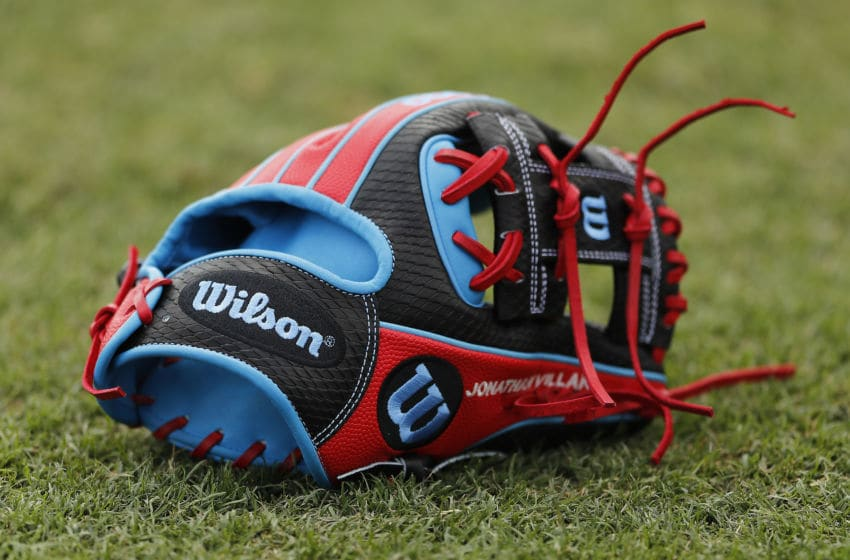 JUPITER, FLORIDA - MARCH 09: A detail of a Wilson glove during a Grapefruit League spring training game between the Miami Marlins and the New York Mets at Roger Dean Stadium on March 09, 2020 in Jupiter, Florida. (Photo by Michael Reaves/Getty Images)