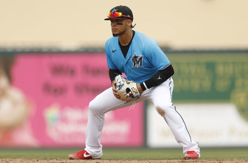 JUPITER, FLORIDA - MARCH 09: Isan Diaz #1 of the Miami Marlins in action against the New York Mets during a Grapefruit League spring training game at Roger Dean Stadium on March 09, 2020 in Jupiter, Florida. (Photo by Michael Reaves/Getty Images)