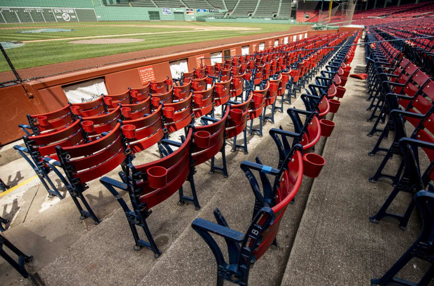 BOSTON, MA - MAY 6: Empty seats are shown as the Major League Baseball season is postponed due the coronavirus pandemic on May 6, 2020 at Fenway Park in Boston, Massachusetts. (Photo by Billie Weiss/Boston Red Sox/Getty Images)