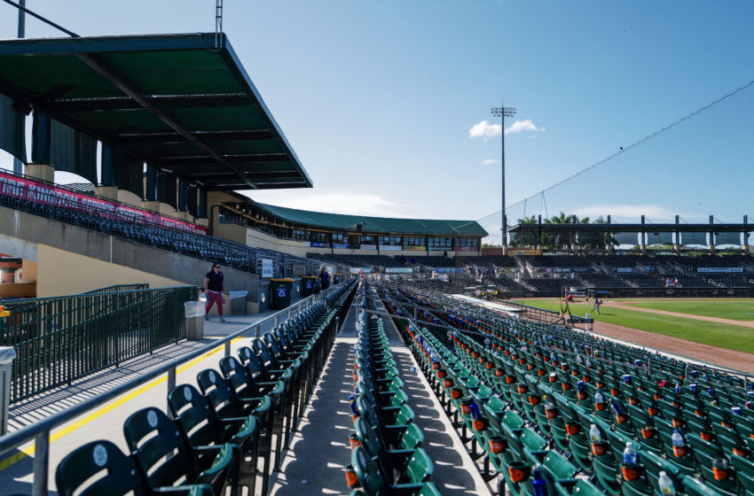 JUPITER, FLORIDA - MARCH 12: A general view of the stadium after the spring training game between the St. Louis Cardinals and the Miami Marlins at Roger Dean Chevrolet Stadium on March 12, 2020 in Jupiter, Florida. Major League Baseball is suspending Spring Training and the first two weeks of the regular season due to the ongoing threat of the Coronavirus (COVID-19) outbreak. (Photo by Mark Brown/Getty Images)