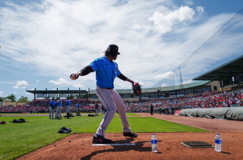 JUPITER, FLORIDA - MARCH 12: Jose Urena #62 of the Miami Marlins warms up before the spring training game against the St. Louis Cardinals at Roger Dean Chevrolet Stadium on March 12, 2020 in Jupiter, Florida. Major League Baseball is suspending Spring Training and delaying the start of the regular season by at least two weeks due to the ongoing threat of the coronavirus (COVID-19) outbreak. (Photo by Mark Brown/Getty Images)