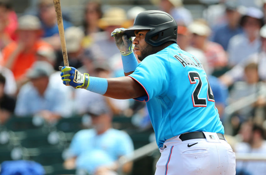 JUPITER, FL - MARCH 10: Jesus Aguilar #24 of the Miami Marlins in action against the Washington Nationals during a spring training baseball game at Roger Dean Stadium on March 10, 2020 in Jupiter, Florida. The Marlins defeated the Nationals 3-2. (Photo by Rich Schultz/Getty Images)