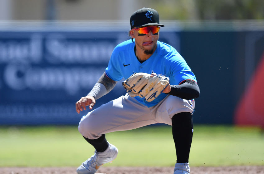 DUNEDIN, FLORIDA - FEBRUARY 29: Isan Diaz #1 of the Miami Marlins in action during the spring training game against the Baltimore Orioles at Ed Smith Stadium on February 29, 2020 in Sarasota, Florida. (Photo by Mark Brown/Getty Images)
