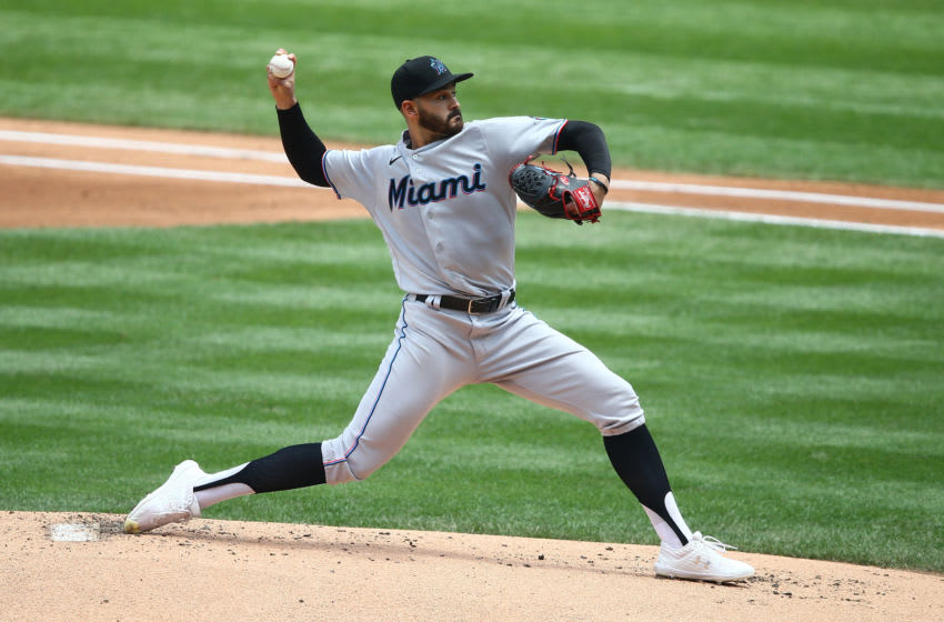NEW YORK, NEW YORK - AUGUST 09: Pablo Lopez #49 of the Miami Marlins in action against the New York Mets at Citi Field on August 09, 2020 in New York City. New York Mets defeated the Miami Marlins 4-2. (Photo by Mike Stobe/Getty Images)